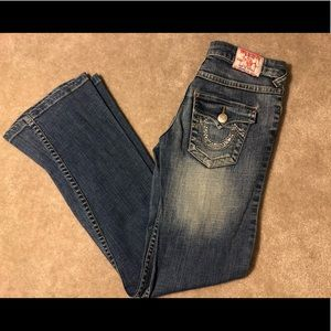 True Religion Flare Leg Jeans with Bling Pocket